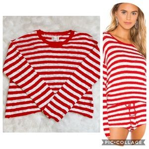 Beach Riot sweater lightweight red white stripe M